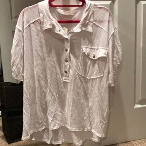 White Free people button up t shirt with pocket